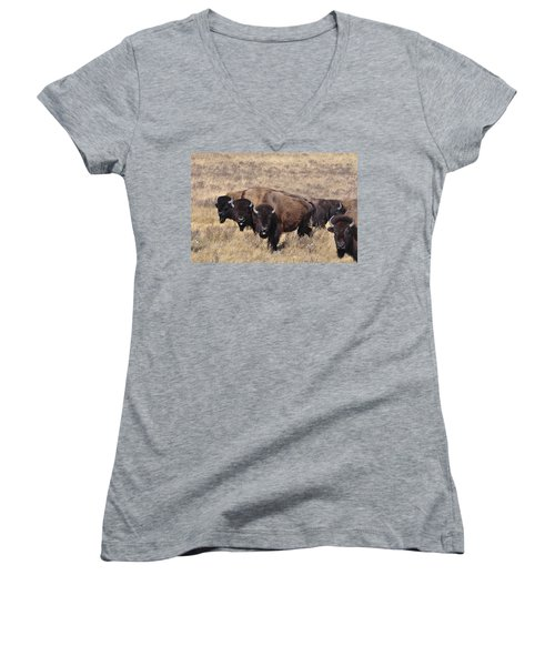 Women's V-Neck T-Shirt (Junior Cut) featuring the photograph Home On The Range by Fran Riley