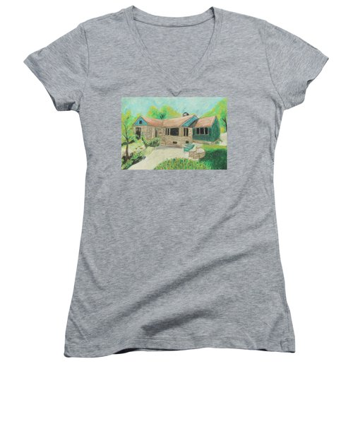 Women's V-Neck T-Shirt (Junior Cut) featuring the painting Home Sweet Home by Jeanne Fischer