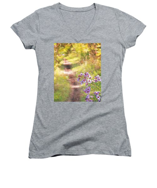 Women's V-Neck T-Shirt (Junior Cut) featuring the photograph Honey Bee On Purple Aster by Brooke T Ryan