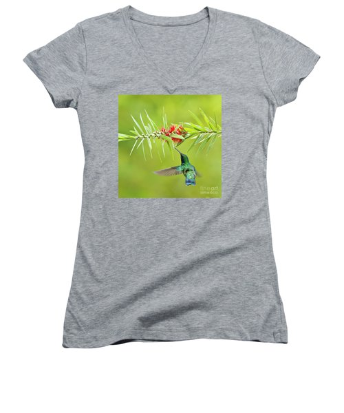 Women's V-Neck featuring the photograph Honey Sucking by Heiko Koehrer-Wagner