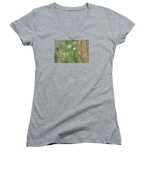 Honeybee Flying In A Meadow Women's V-Neck T-Shirt (Junior Cut) by Lucinda VanVleck