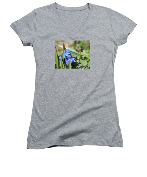 Honeybee In Flight Women's V-Neck T-Shirt (Junior Cut) by Lucinda VanVleck
