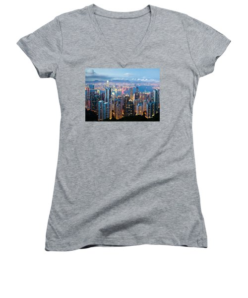 Hong Kong At Dusk Women's V-Neck T-Shirt
