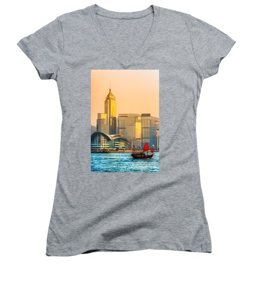 Hong Kong. Women's V-Neck T-Shirt