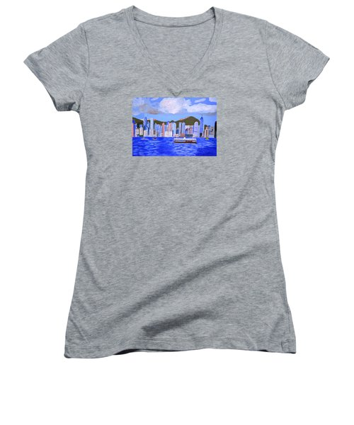 Women's V-Neck T-Shirt (Junior Cut) featuring the painting Hong Kong by Magdalena Frohnsdorff