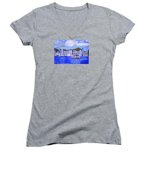 Hong Kong Women's V-Neck T-Shirt (Junior Cut) by Magdalena Frohnsdorff