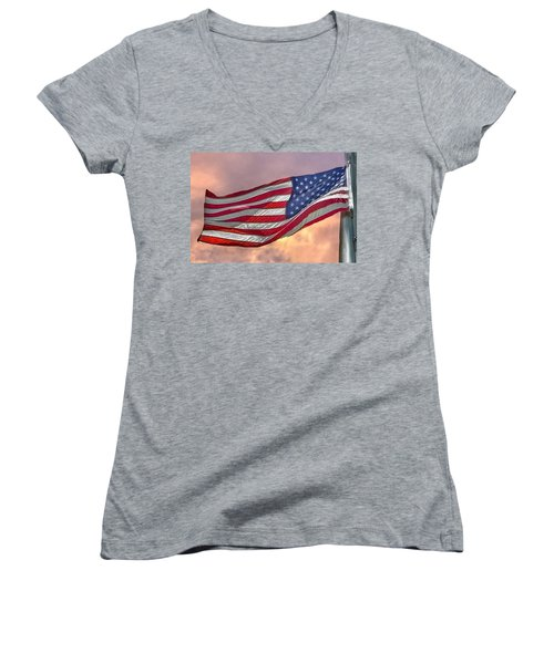 Women's V-Neck T-Shirt (Junior Cut) featuring the photograph Honoring The Heroes  by Charlotte Schafer