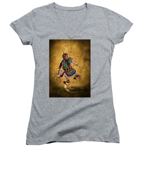 Hooping His Heart Out Women's V-Neck T-Shirt (Junior Cut) by Priscilla Burgers