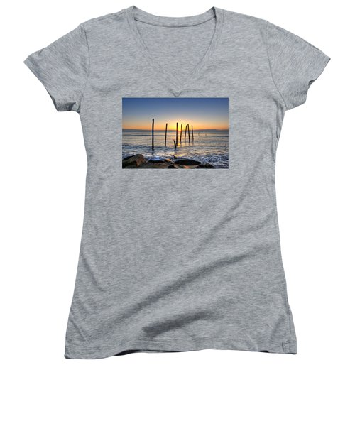 Horizon Sunburst Women's V-Neck T-Shirt (Junior Cut)