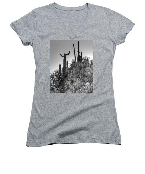 Horn Saguaro Cactus Women's V-Neck T-Shirt (Junior Cut)