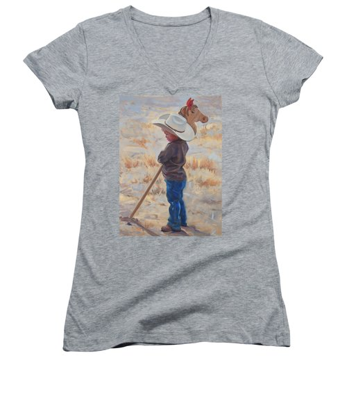 Horse And Rider Women's V-Neck T-Shirt