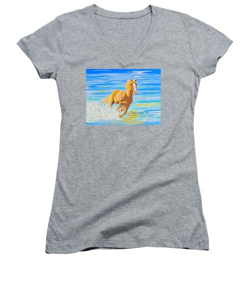 Women's V-Neck T-Shirt (Junior Cut) featuring the painting Horse Bright by Phyllis Kaltenbach