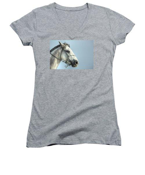 Women's V-Neck T-Shirt (Junior Cut) featuring the photograph Horse Head-shot by Eti Reid