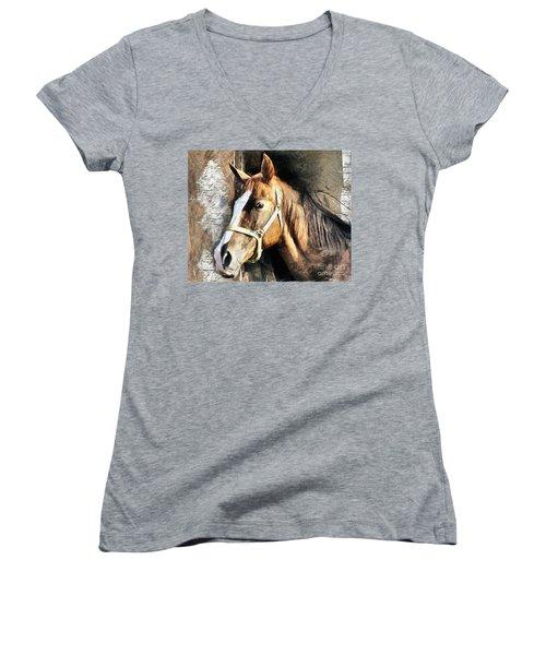 Horse Portrait - Drawing Women's V-Neck (Athletic Fit)