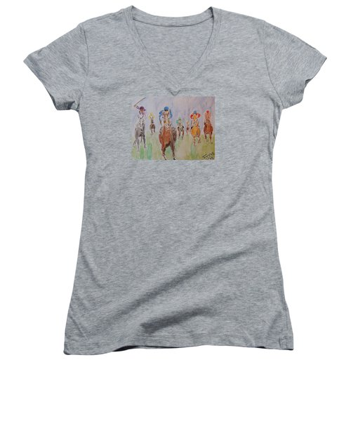 Horse Race Women's V-Neck T-Shirt