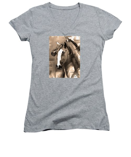Women's V-Neck T-Shirt (Junior Cut) featuring the painting Horse Together 1 Sepia by Go Van Kampen