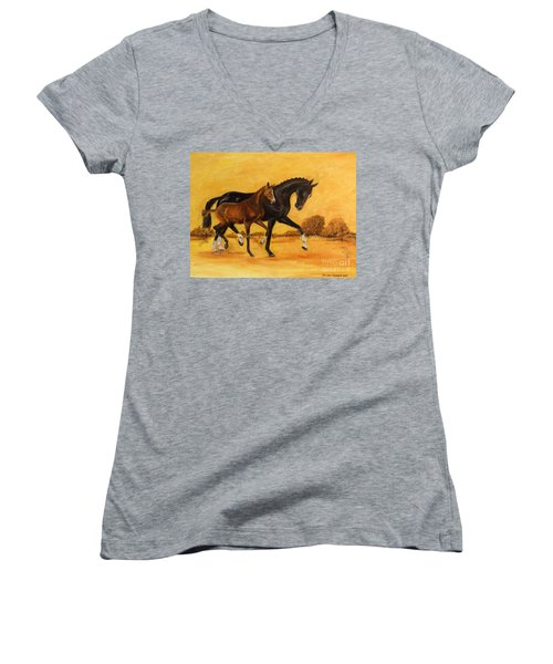 Women's V-Neck T-Shirt (Junior Cut) featuring the painting Horse - Together 2 by Go Van Kampen