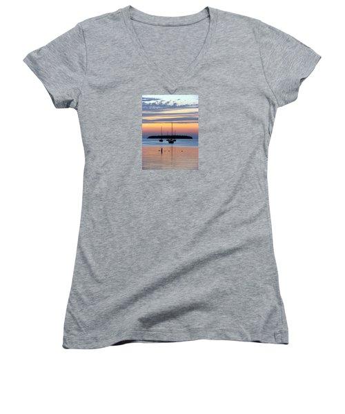 Horsehoe Island Sunset Women's V-Neck T-Shirt (Junior Cut) by David T Wilkinson