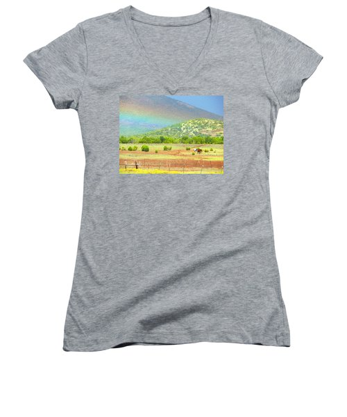 Horses At The End Of The Rainbow Women's V-Neck T-Shirt
