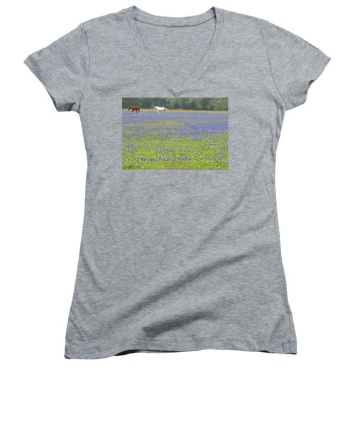 Horses Running In Field Of Bluebonnets Women's V-Neck T-Shirt (Junior Cut) by Connie Fox