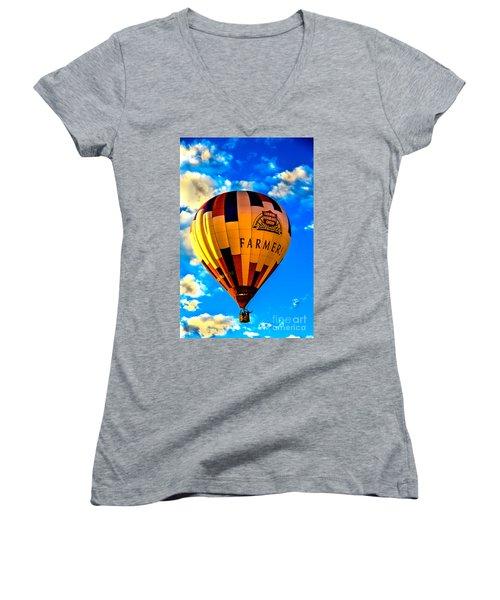 Hot Air Ballon Farmer's Insurance Women's V-Neck T-Shirt (Junior Cut) by Robert Bales