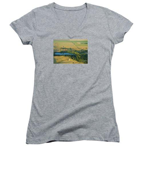 Women's V-Neck T-Shirt (Junior Cut) featuring the photograph Hot Air Reflection by Nick  Boren