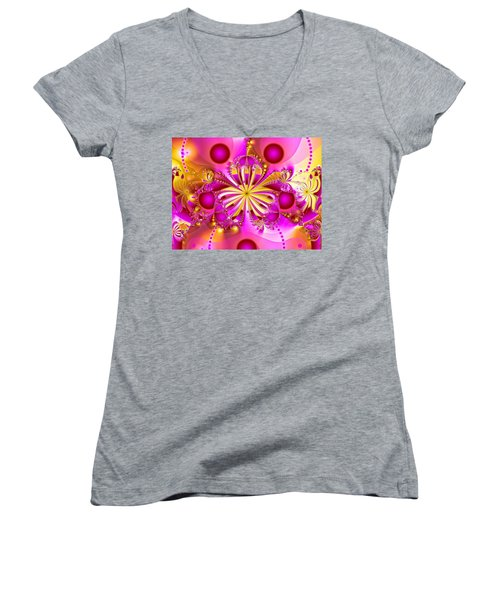 Hot Orchid Women's V-Neck T-Shirt (Junior Cut) by Sylvia Thornton