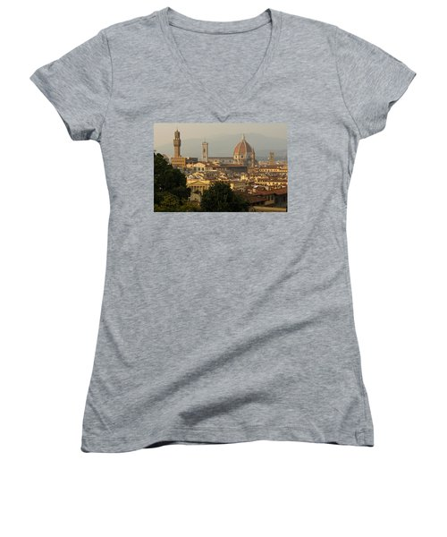 Hot Summer Afternoon In Florence Italy Women's V-Neck T-Shirt (Junior Cut)