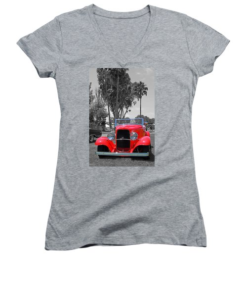 Women's V-Neck T-Shirt (Junior Cut) featuring the photograph Hot V8 by Shoal Hollingsworth