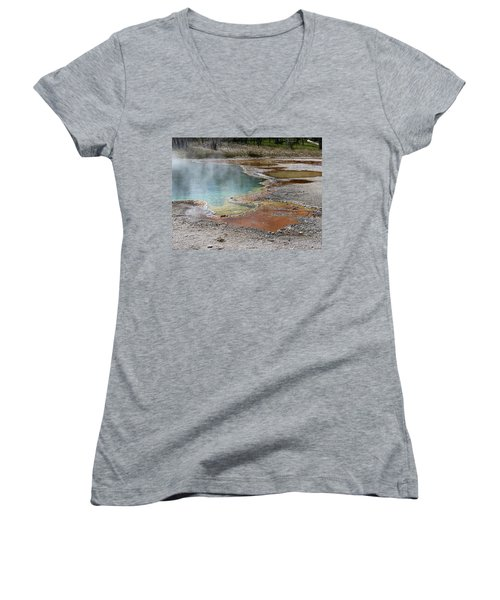 Women's V-Neck T-Shirt (Junior Cut) featuring the photograph Hot Water At Yellowstone by Laurel Powell