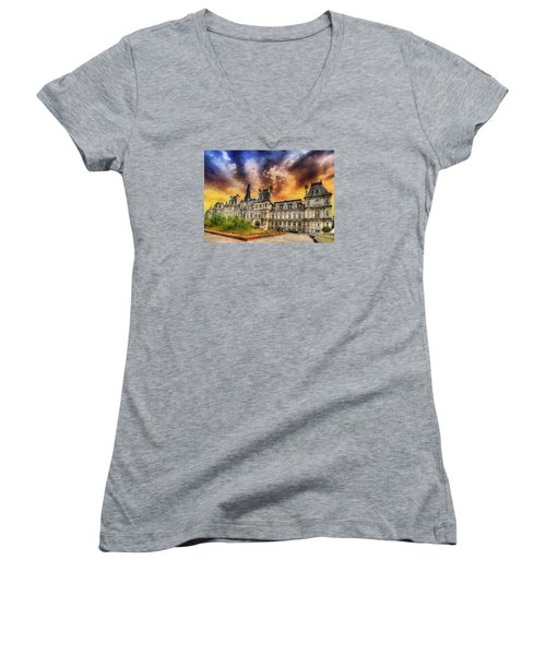 Women's V-Neck T-Shirt (Junior Cut) featuring the photograph Sunset At The Hotel De Ville by Charmaine Zoe