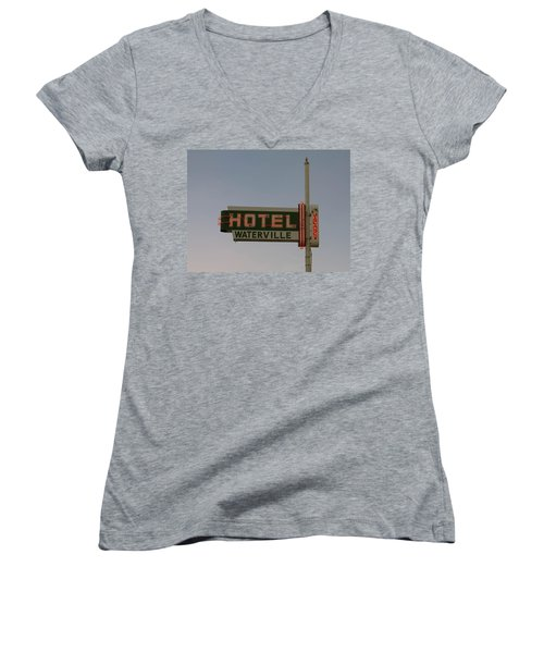 Hotel Waterville Neon Sign Women's V-Neck T-Shirt