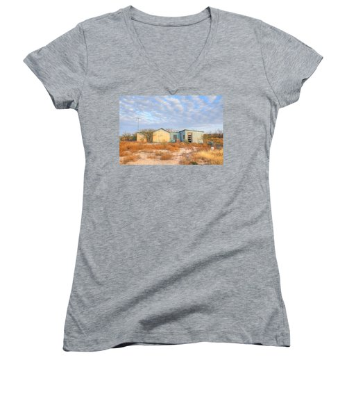House In Ft. Stockton Iv Women's V-Neck T-Shirt (Junior Cut) by Lanita Williams