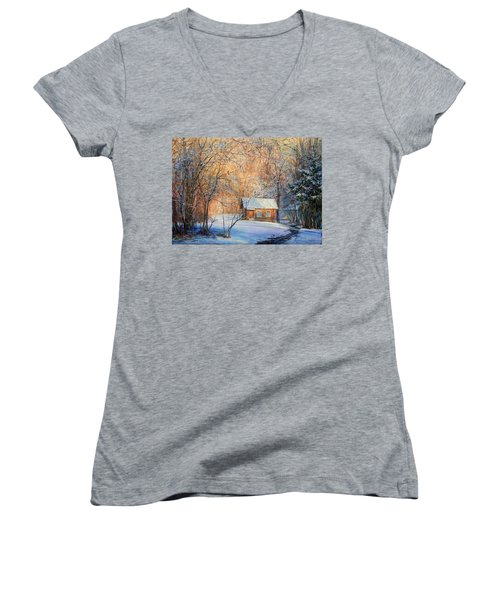 House In The Winter Forest  Women's V-Neck (Athletic Fit)