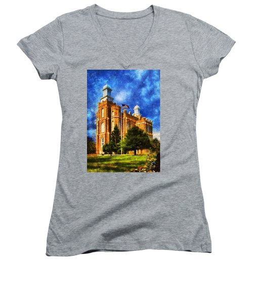 Women's V-Neck T-Shirt (Junior Cut) featuring the digital art House Of Learning by Greg Collins