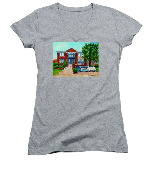 House Portrait-house  Art-commissioned  Montreal Paintings-carole Spandau Women's V-Neck
