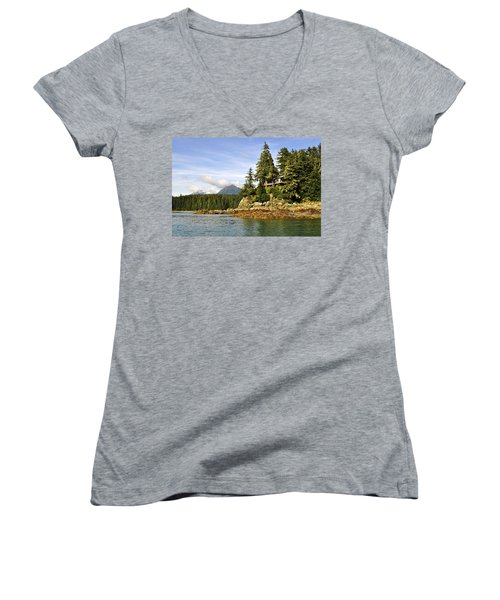 Women's V-Neck T-Shirt (Junior Cut) featuring the photograph House Upon A Rock by Cathy Mahnke