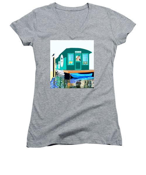 Women's V-Neck T-Shirt (Junior Cut) featuring the painting Houseboat by Marian Cates