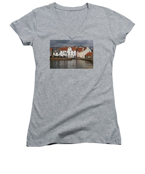 Houses At Pittenweem Harbor Women's V-Neck (Athletic Fit)