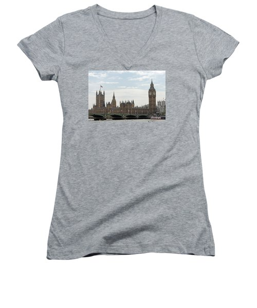 Houses Of Parliament Women's V-Neck T-Shirt (Junior Cut) by Tony Murtagh