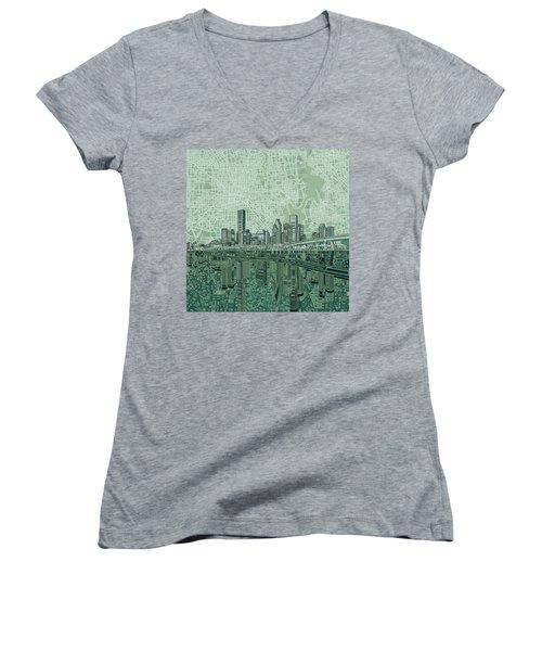 Houston Skyline Abstract 2 Women's V-Neck T-Shirt (Junior Cut) by Bekim Art