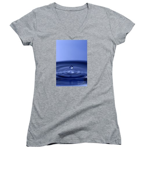 Hovering Blue Water Drop Women's V-Neck T-Shirt (Junior Cut) by Anthony Sacco