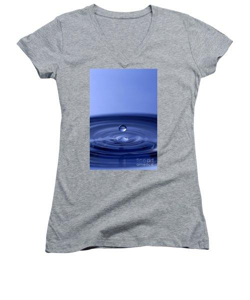 Hovering Blue Water Drop Women's V-Neck