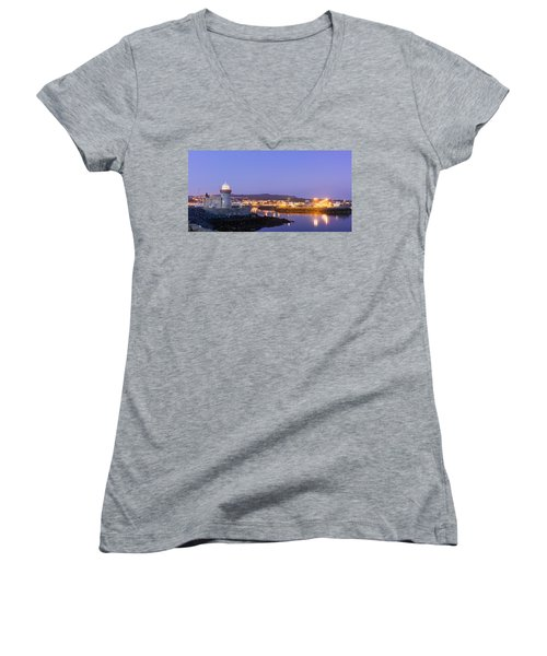 Howth Harbour Lighthouse Women's V-Neck T-Shirt (Junior Cut) by Semmick Photo