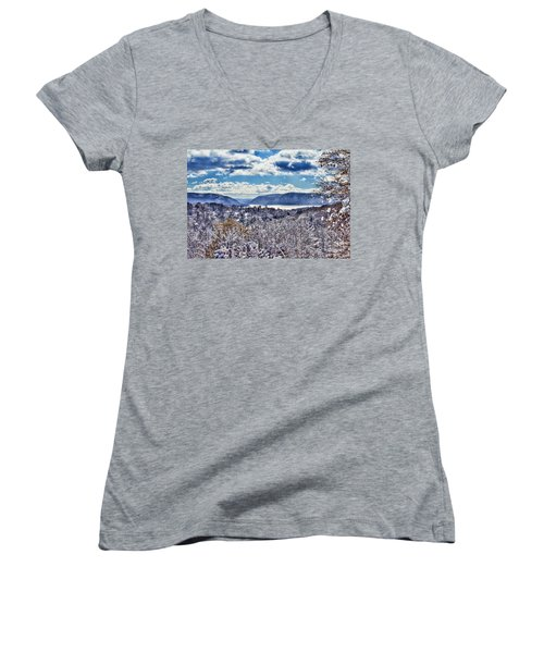 Hudson Valley First Snow Mystic Colors Women's V-Neck T-Shirt