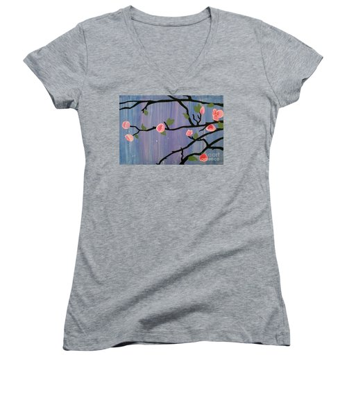 Women's V-Neck T-Shirt (Junior Cut) featuring the painting Humble Splash by Marisela Mungia