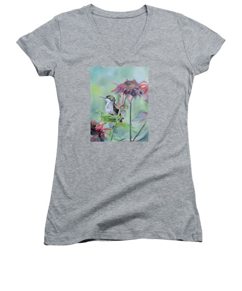 Hummingbird And Coneflowers Women's V-Neck (Athletic Fit)