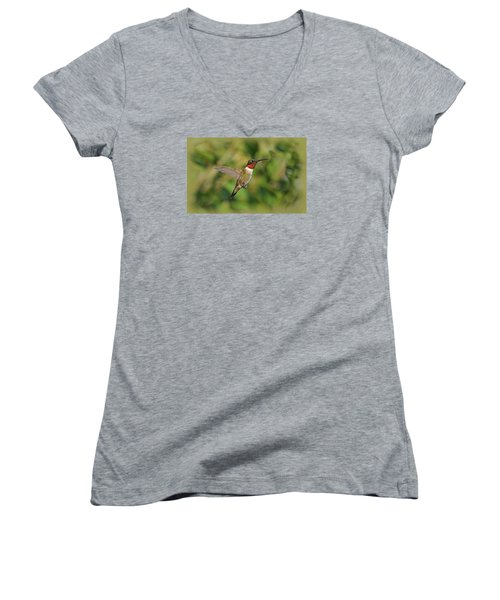 Hummingbird In Flight Women's V-Neck T-Shirt (Junior Cut) by Sandy Keeton