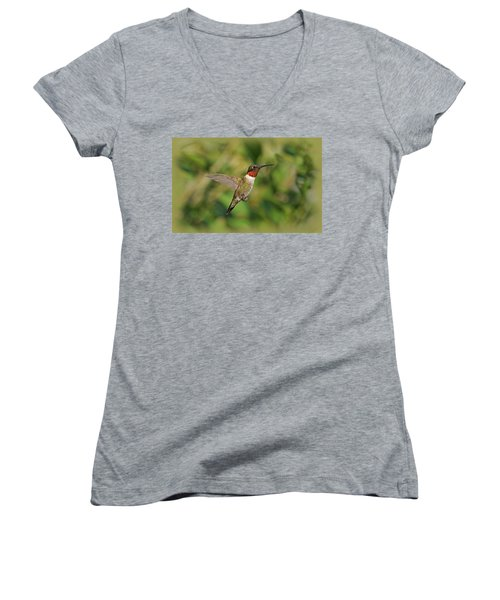 Hummingbird In Flight Women's V-Neck
