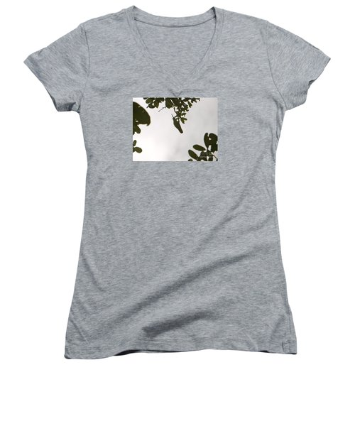 Women's V-Neck T-Shirt (Junior Cut) featuring the photograph Hummingbird Silhouette 1 by Joy Hardee